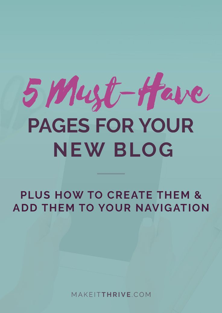 start a blog, pages for your blog, about page, privacy page, contact page, wordpress pages