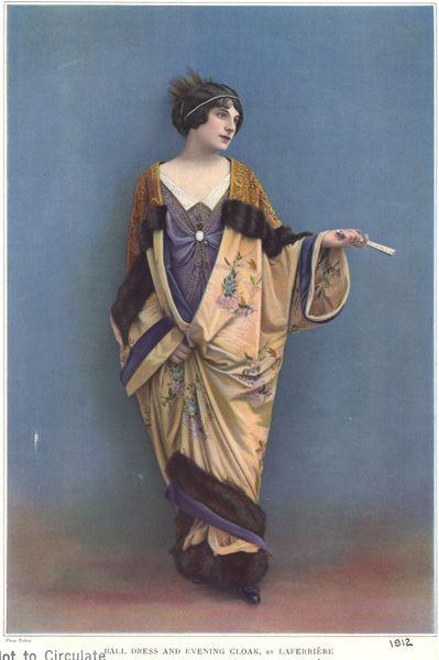 1912, Ball dress & evening cloak by Laferriere