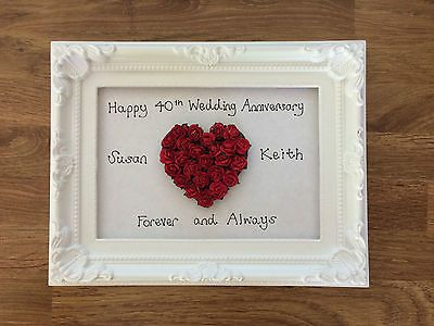 Handmade 40th Ruby Wedding Anniversary Personalised Framed Heart Gift Present