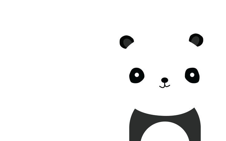 Minimal Black white Panda face Desktop wallpaper background