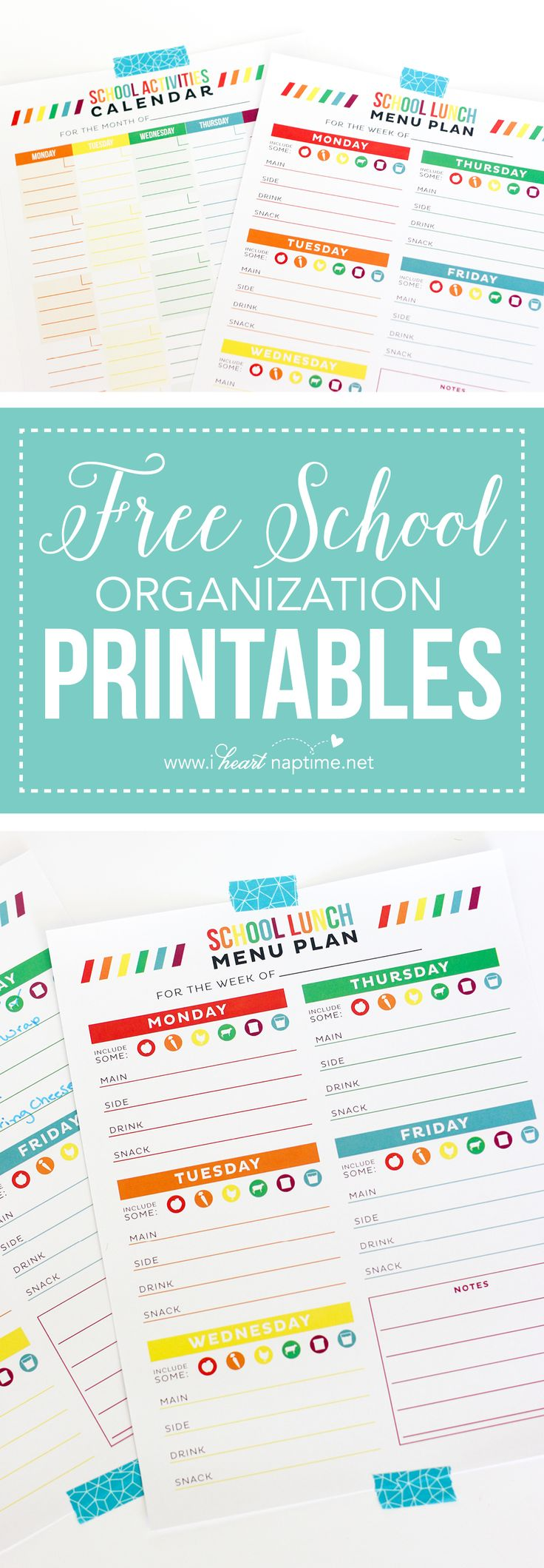 FREE School Organization Printables... print out these free planners to help you stay organized this school year! We have a free school lunch menu planner and a month-at-a-glance activities planner!