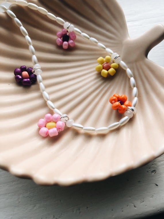 Beaded necklace handmade jewelry multicolored beads and clay ...