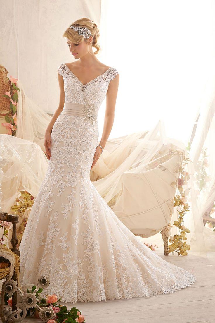off-the-shoulder natural waist wedding dress - Wegodress.com