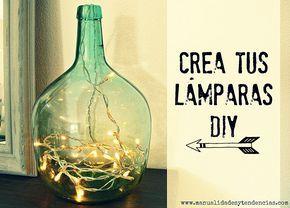 Lámparas DIY www.manualidadesytendencias.com #manualidades #diy #lámpara #lamp #craft #lampadaire #guirnalda #homedecor #decoración #decoration