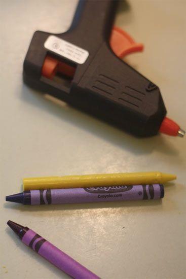 use crayons in a hot glue gun!!