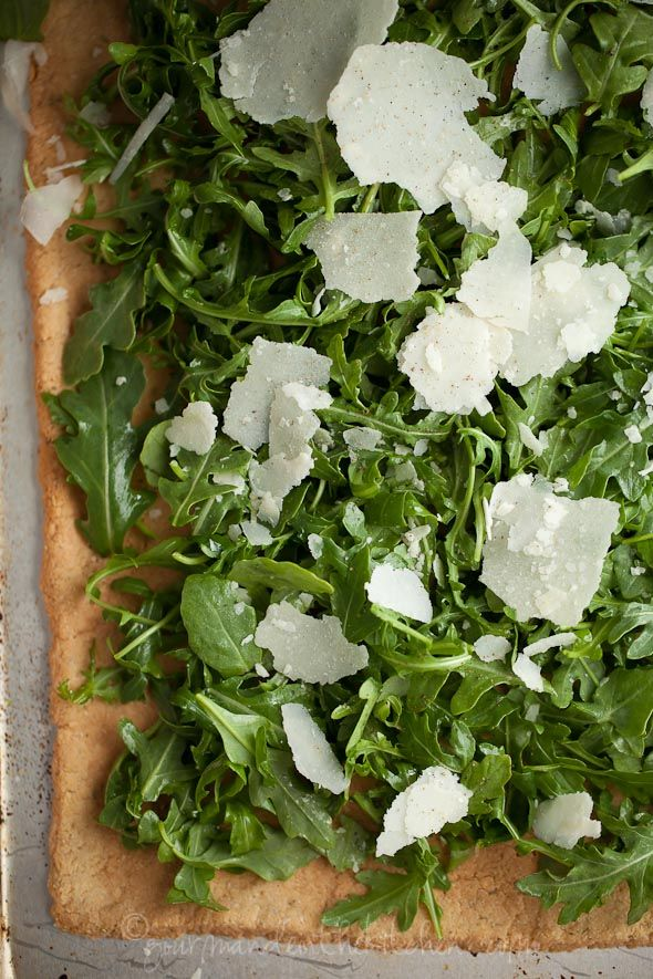 Crisp Rosemary Parmesan Flatbread with Arugula and Almonds | Gluten Free and Grain Free | Gourmande in the Kitchen