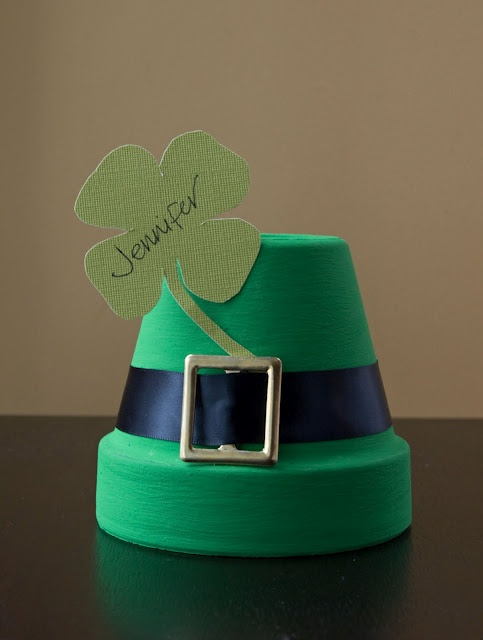 DIY, St. Patrick's Day HatPlace Cards, Stpatricksday, Cards Holders, St Patricks Day, Flower Pots, Places Cards, Clay Pots, Placecards, Crafts