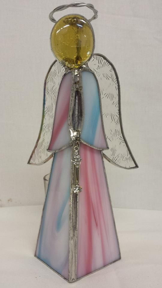 """In support of Earth parents of Angel babies. #stainedglass pink and blue 3D angel will free stand on your table or shelf, and disguise a votive candle holder or Tlite behind. Approx 8x3"""", $25.00 +s/h. Note: please acknowledge this glass may not always be in stock as its custom ordered."""