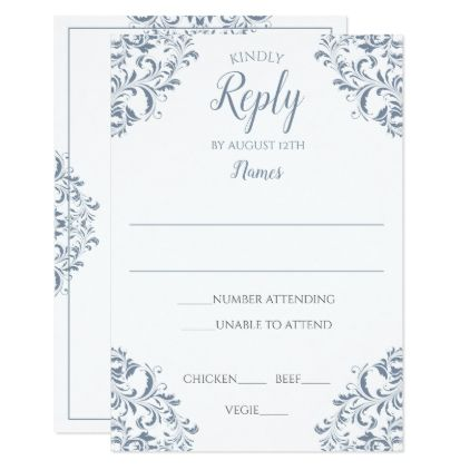 Elegant Reply Card - Nadine (Dusty Blue) - reply diy cyo unique personalize customize