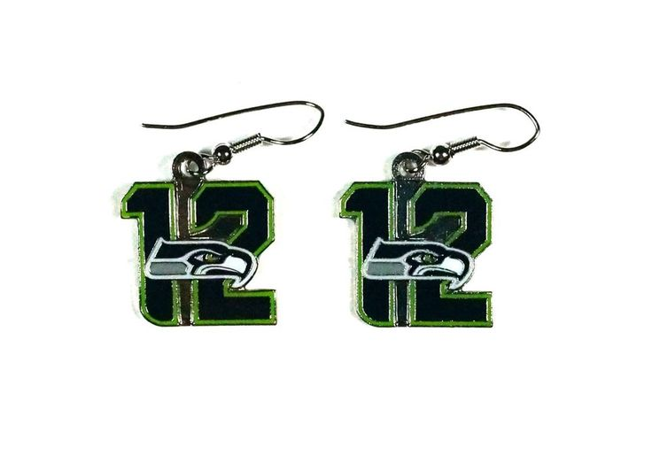 "NFL Seahawks 12th Man Number ""12"" with Seahawks LOGO Dangle Earrings #SeattleSeahawks"