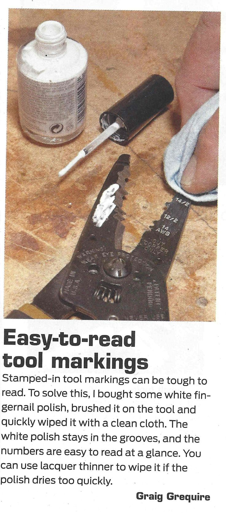 Family Handyman Magazine: Easy to read markings on tools