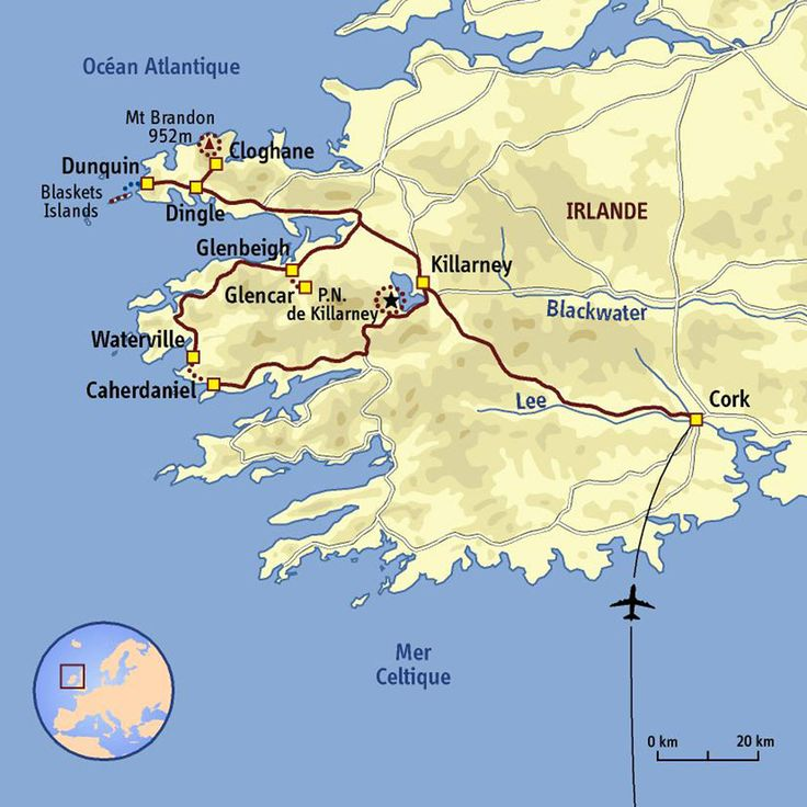 carte Irlande - Péninsule de Dingle et anneau du Kerry