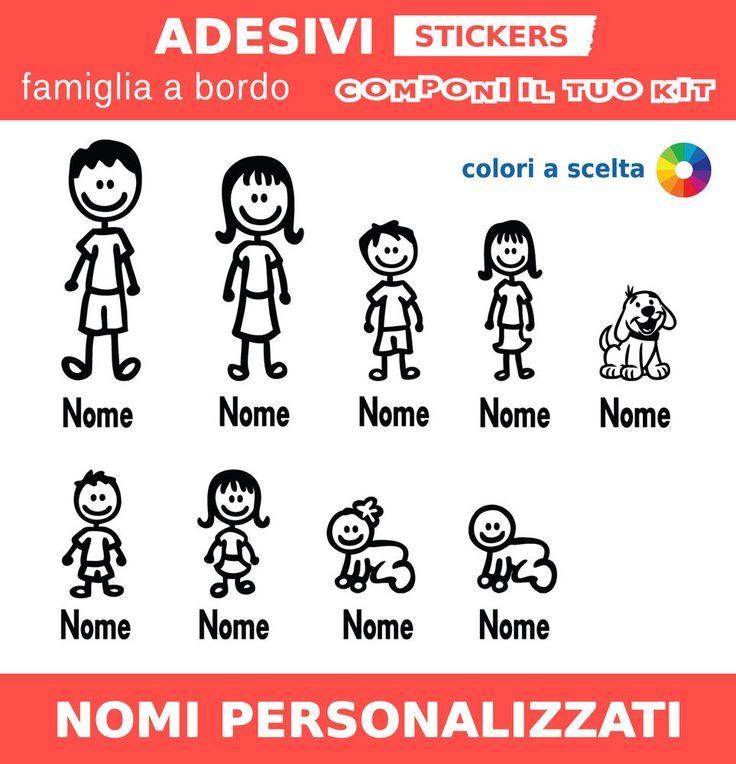 Adesivi famiglia a bordo family sticker personalizzati con nome, per auto camper