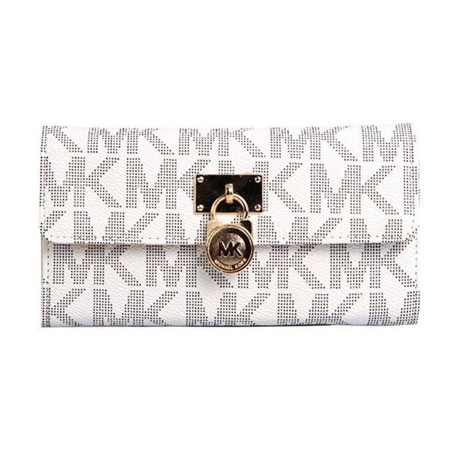 Share Michael Kors - Michael Kors Hamilton Logo Signature Large White  Wallets $28