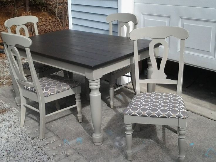 Solid wood table and chairs after kona stain annie for Table de x 6