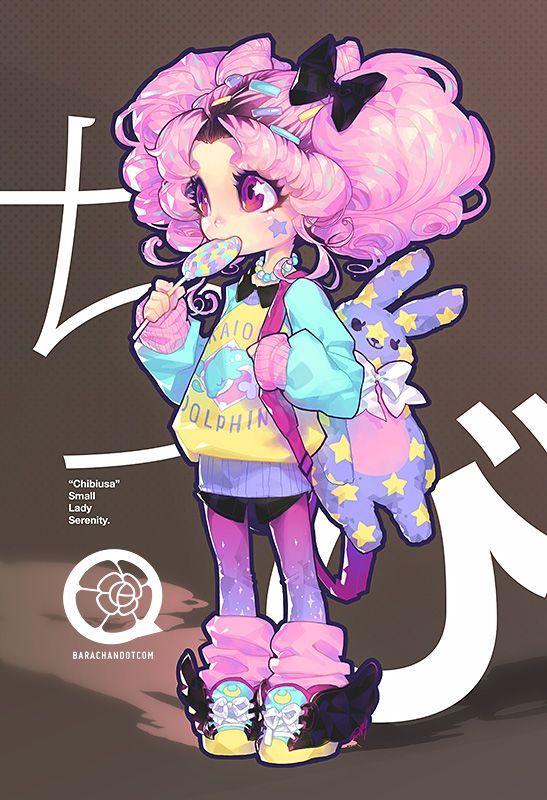 Garota Anime-Fofa-Kawaii-Urso de pelúcia-coelho-pirulito <3