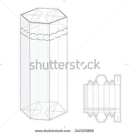 Hexagonal box with Die Cut Template