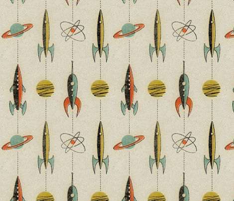Retro rockets by mumbojumbo on Spoonflower
