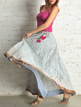 Ecru-Blue Block Print Kalidar Cotton Skirt - Free Size