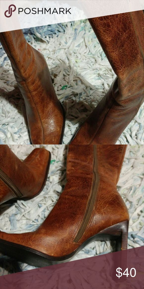 Ladies leather boots Steve Madden leather 3 inch heeled boots Steve Madden Shoes Heeled Boots