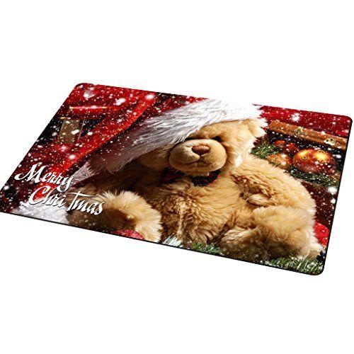 Frohe Weihnachten Dekor Fu�matte, 40x60cm Anti-Rutsch-Eingang Teppich-Fu�matten Schuhe Scraper Willkommen Eintrag Bodenteppich, Lustige Dekorative Fu�abtreter