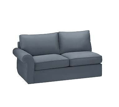 Pearce Slipcovered Left Arm Love Seat Sleeper, Polyester Wrapped Cushions, Brushed Canvas Harbor Blue