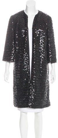 Marchesa Long Sequin Coat