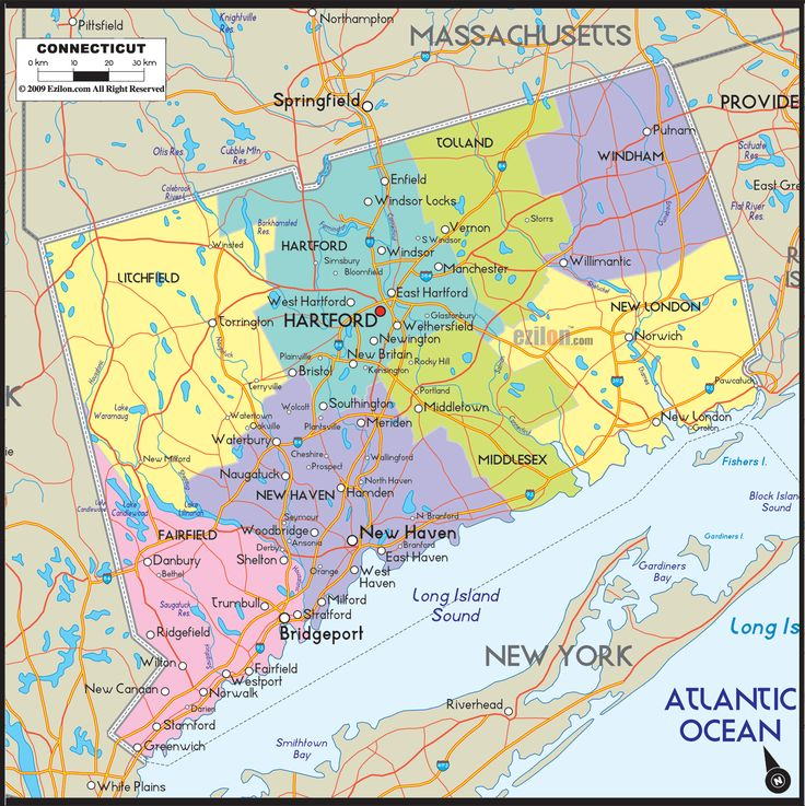 Map Of Connecticut Includes Cities Towns And Counties Road Map - Map usa connecticut