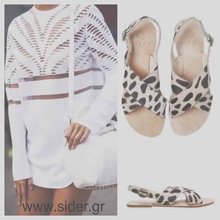 SiDer stores#treis#sidershoes#melina style#pony skin#leather#sandals#summer#black#and#white#fashion