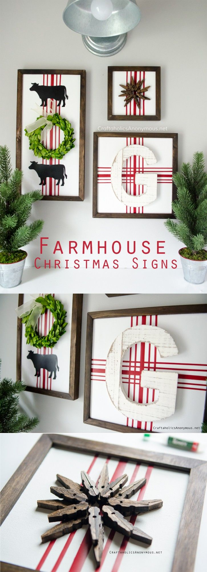 DIY Farmhouse Christmas Signs in red and white with vintage grain sack lines.
