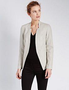 Linen Blend Open Front Jacket
