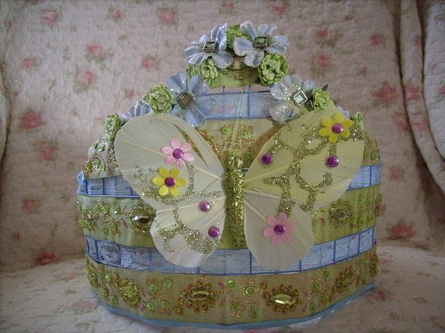 crown,shabby,cottage,altered art,green,blue lace,rhinestones,butterfly,glitter 1 by stephanies cottage!, via Flickr