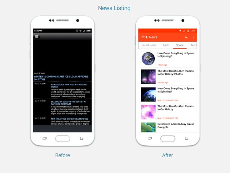 Discovery News App Before & After by Chandresh Gandhi for User 360