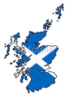 Umriss von Schottland gefüllt mit schottischen Flagge