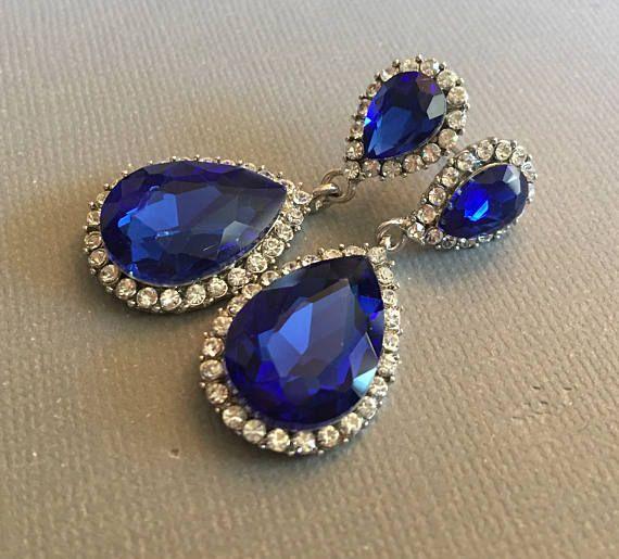 Royal Blue oorbellen lang met kobaltblauw Strass in teardrop