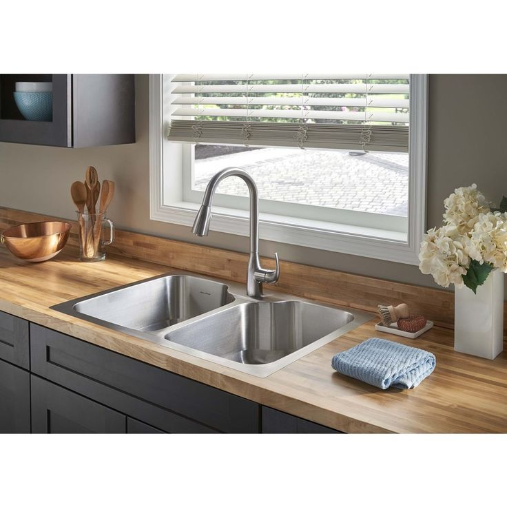 Shop American Standard Tulsa 33-in x 22-in Stainless Steel Double-Basin Drop-in or Undermount 1-Hole Residential Kitchen Sink All-In-One Kit at Lowes.com