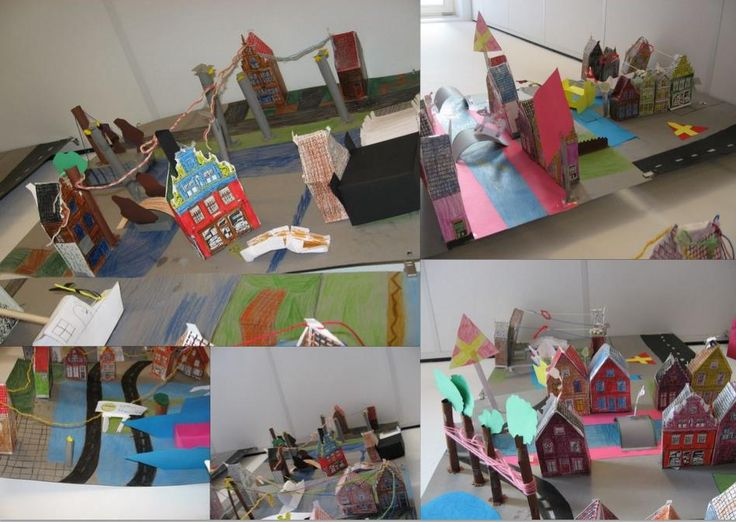 We maken een maquette van ons dorp. De huizen bouwplaten zijn van internet, de rest hebben we zelf ontworpen.