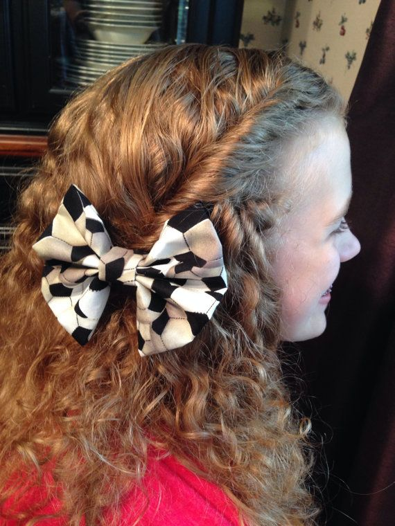 Fabric Soccer Bow on Etsy, $5.00
