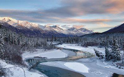 壁紙をダウンロードする 川, 風景, 雪, 木, 冬, 山, 山々, 森林, 松の木, 霜, アラスカ