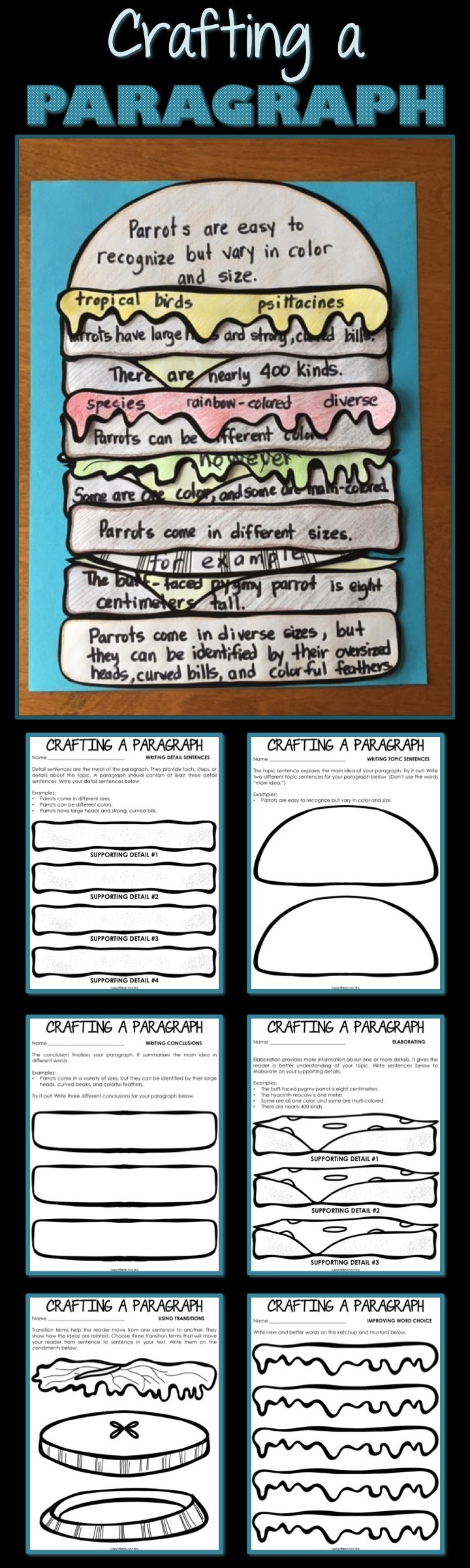 Write an informational paragraph while creating a craft! Your third grade, fourth grade, or fifth grade students will love using this sandwich analogy to build a better paragraph. As they move through the writing process, kids write topic, detail, and concluding sentences on hamburger parts. They then create more parts for elaboration, word choice, and transitions. Expository writing has never been so much fun!