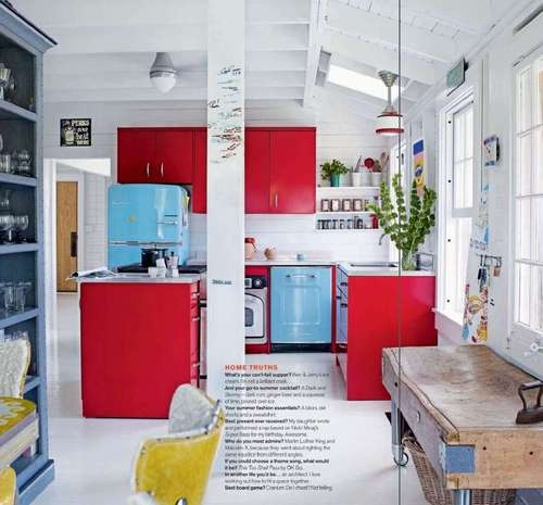 Red And Blue Kitchen.