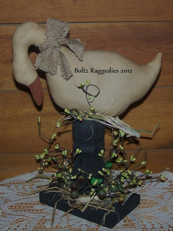 Primitive Goose on Pedestal by BoltzRaggedies on Etsy, $39.95