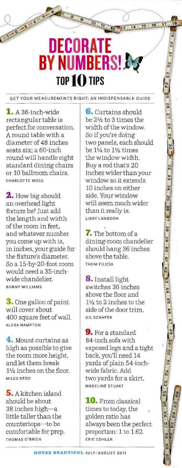 House Beautiful handy Tips decorating..