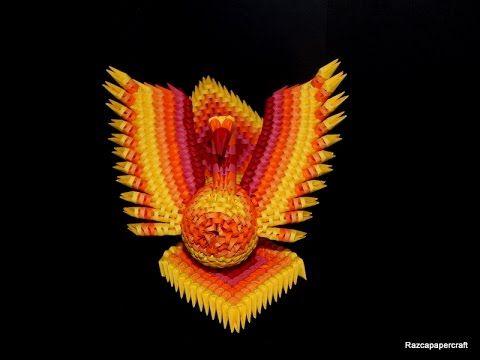3D origami Phoenix tutorial 2 (3d origami fire bird part 2) - YouTube