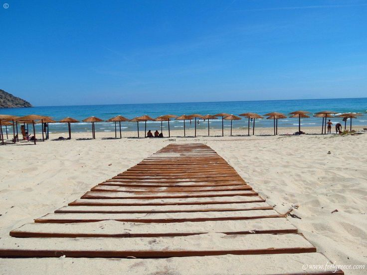 wooden walkway on Paradise Beach, Thassos Island