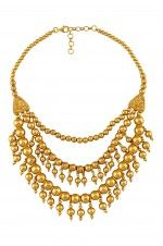 Tribebyamrapali-Silver Gold Plated Multi Bead Tri Strand Necklace