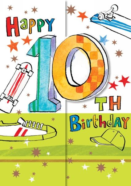 This cool card is the perfect way to congratulate someone on reaching the 10th birthday milestone! The card has a half white half green background on which there are skateboards, a baseball cap, a pair of trainers and bronze foiled stars printed. The front of the card reads