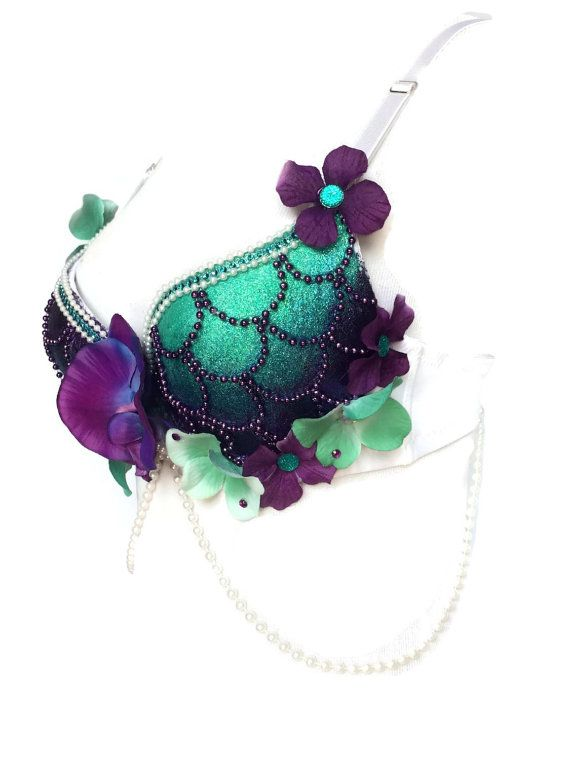 Allure even the bravest of sailors in with this Enchanting Siren Mermaid rave bra! Gorgeous purple and teal hues will make you stand out from the