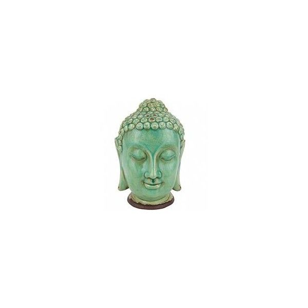 "10"" Thai Buddha Head Statue ❤ liked on Polyvore featuring home, home decor, ceramic statues, buddha home decor, thai buddha statue, buddha head statue and buddha statues"