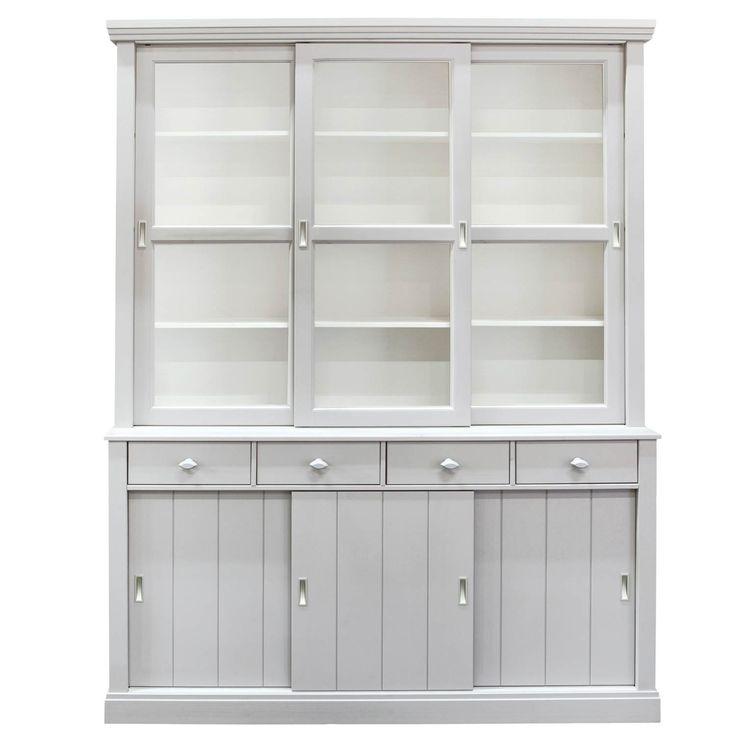 Grenen, met grijze buitenzijde en witte binnenkant, zelfmontage, 215 x 166 x 48 cm (h x b x d)